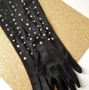 Black embellished elbow length knit evening gloves